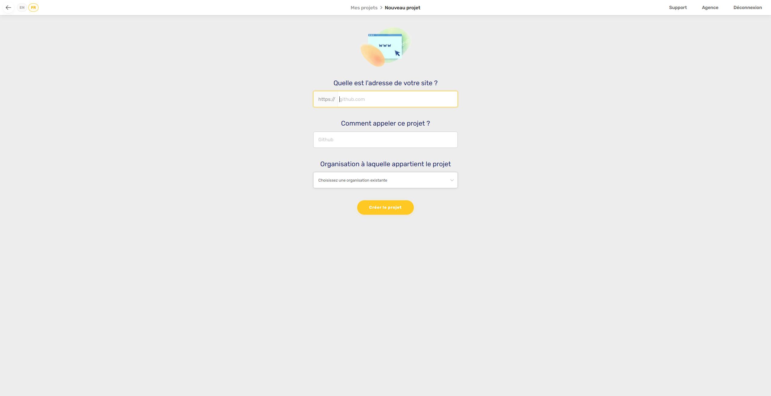 Configuration 1 nouveau projet - Axeptio cookies et RGPD - Kozman